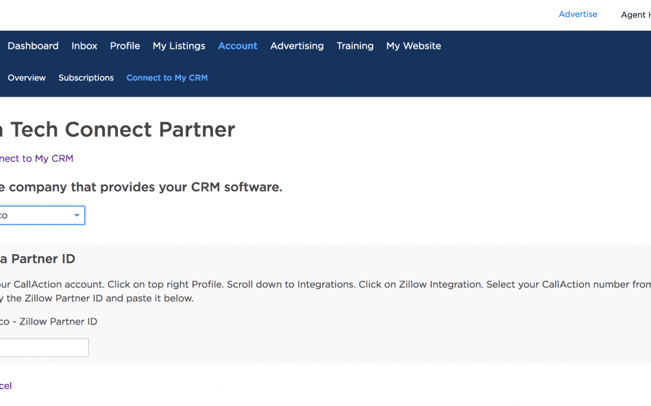 Zillow connect my CRM API
