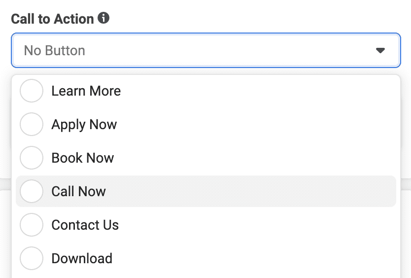 Facebook call now button from call to action options