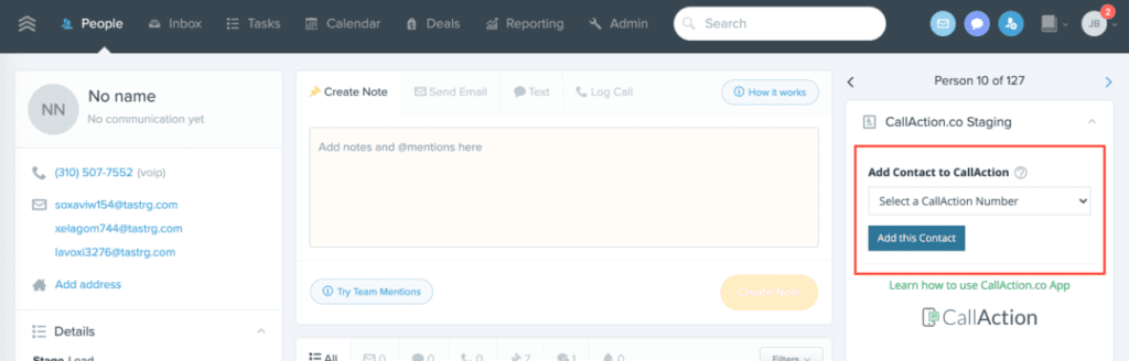 Sync Follow Up Boss contacts with one click into CallAction
